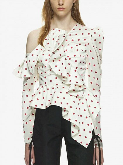 White Satin Look One Shoulder Polka Dot Long Sleeve Chic Women Blouse