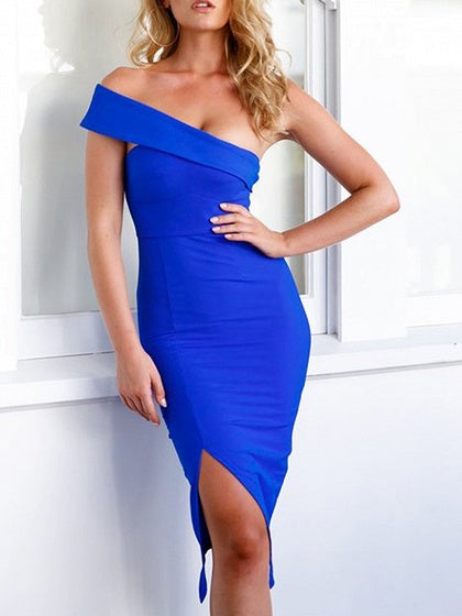 Blue Cotton Bandeau Split Front Chic Women Bodycon Dress