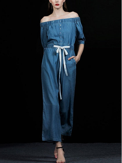 Blue Off Shoulder Drawstring Waist Chic Women Jumpsuit