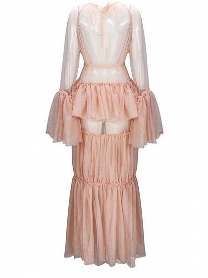 Beige Tie Waist Ruffle Trim Flare Sleeve Chic Women Lace Maxi Dress