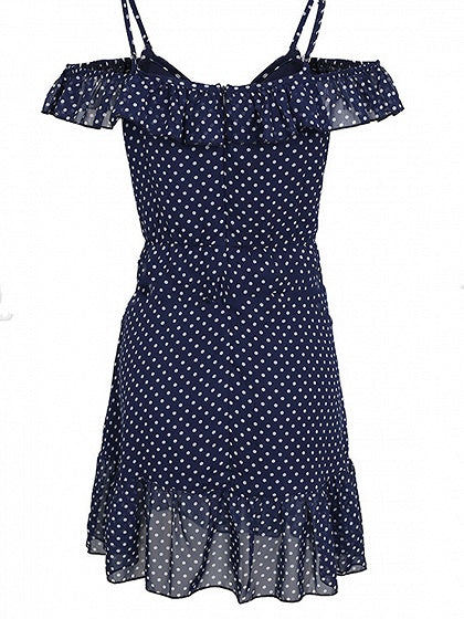 Dark Blue Chiffon Plunge Polka Dot Print Chic Women Cami Mini Dress