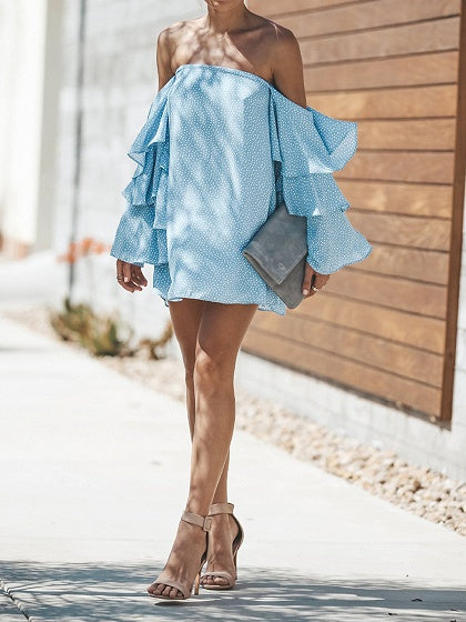 Blue Off Shoulder Polka Dot Print Ruffle Sleeve Chic Women Mini Dress