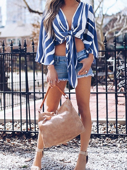 Blue Stripe V-neck Tie Front Flare Sleeve Chic Women Crop Blouse