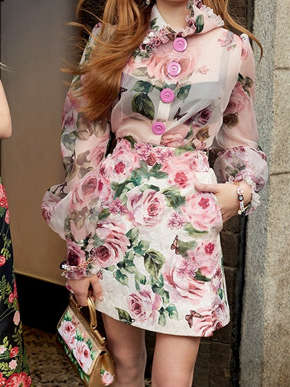 Polychrome Floral Print Chic Women Top And High Waist Mini Skirt