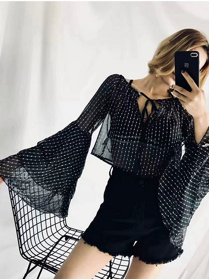 Black Chiffon V-neck Polka Dot Print Flare Sleeve Chic Women Blouse