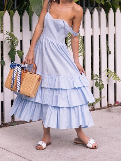 Light Blue Cotton V-neck Layered Ruffle Hem Chic Women Cami Maxi Dress