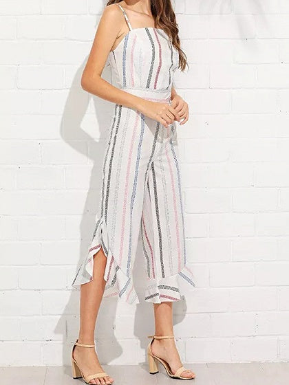 Multicolor Stripe Cotton Blend Spaghetti Strap Chic Women Jumpsuit