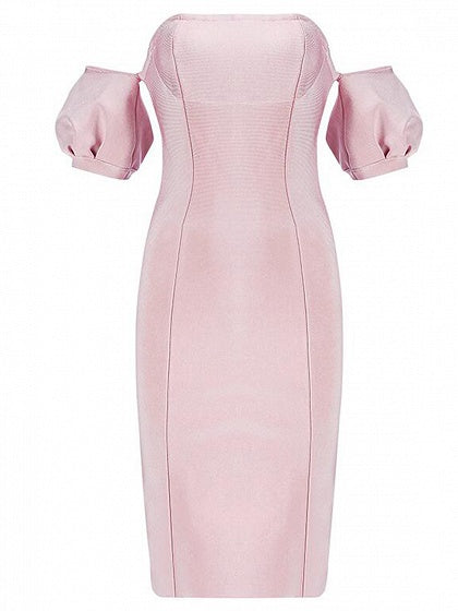 Pink Off Shoulder Split Back Puff Sleeve Chic Women Bodycon Mini Dress