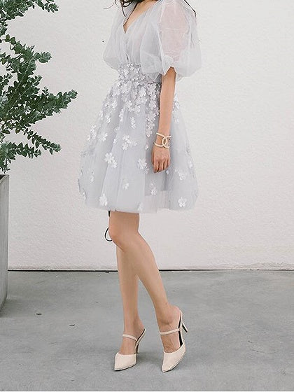 Gray V-neck 3D Flower Detail Puff Sleeve Chic Women Mesh Mini Dress