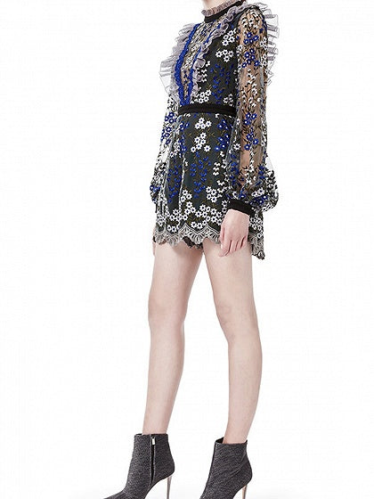 Polychrome Floral Embroidery Puff Sleeve Chic Women Romper Playsuit