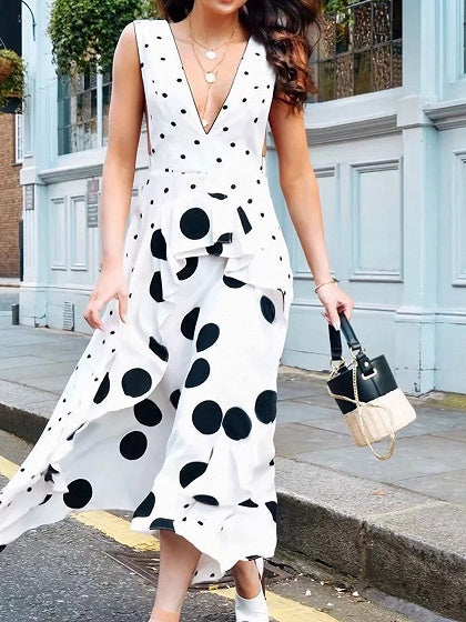 White Plunge Polka Dot Print Sleeveless Chic Women Maxi Dress