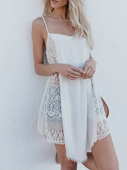 1c097e3177 White V-neck Cut Out Detail Chic Women Lace Longline Cami Top ...
