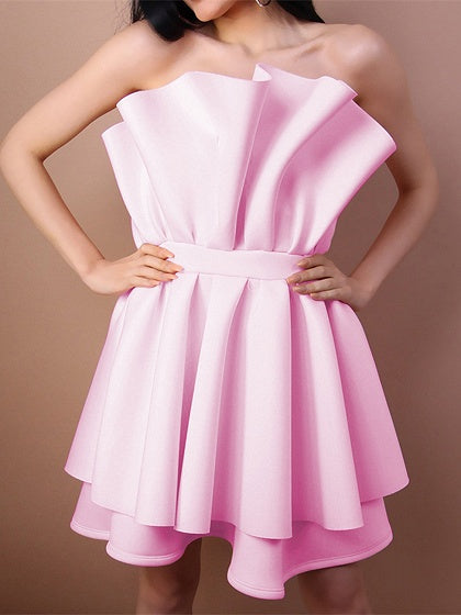 Pink Bandeau Ruffle Trim Open Back Chic Women Mini Dress