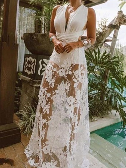 White Chiffon Plunge Cross Strap Back Sleeveless Maxi Dress
