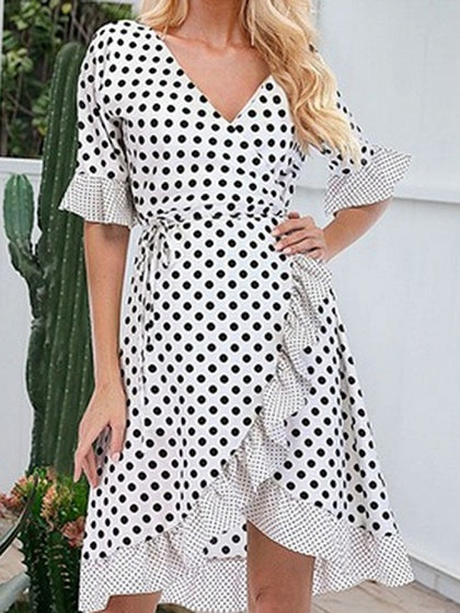White Cotton V-neck Polka Dot Print Ruffle Trim Chic Women Mini Dress