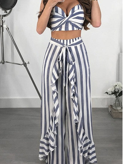 Blue Stripe Cotton V-neck Chic Women Crop Cami Top And Wide Leg Pants