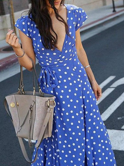 Blue Plunge Polka Dot Print Thigh Split Front Chic Women Maxi Dress