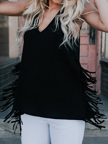fe0d4eb514c Black Cotton V-neck Tassel Trim Detail Chic Women Tank Top