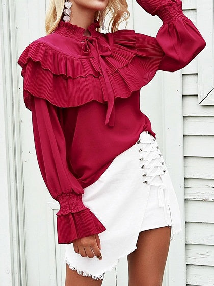 Burgundy Chiffon High Neck Ruffle Trim Puff Sleeve Chic Women Blouse