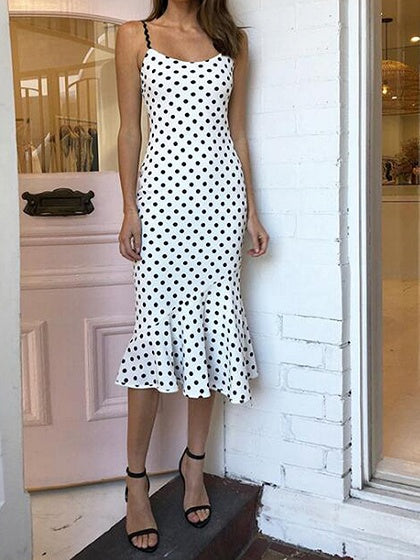 White Polka Dot Print Fishtail Hem Chic Women Cami Midi Dress