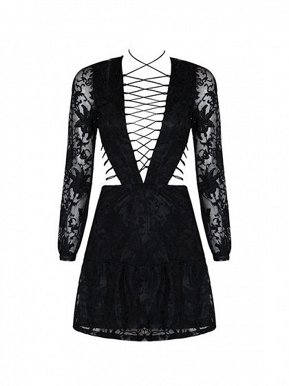Black Plunge Lace Up Detail Long Sleeve Chic Women Lace Mini Dress