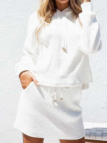 White Ribbed Long Sleeve Chic Women Hoodie And High Waist Skirt