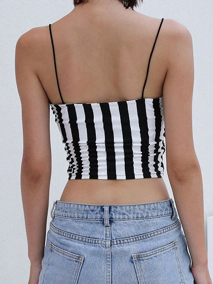 Black Stripe Letter Embroidery Chic Women Crop Cami Top