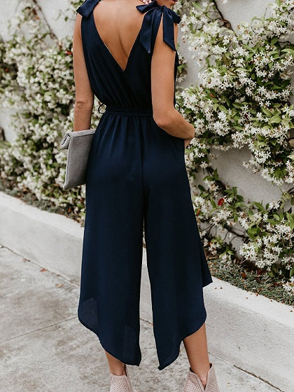 Dark Blue Cotton Blend V-neck Tie Waist Sleeveless Chic Women Jumpsuit