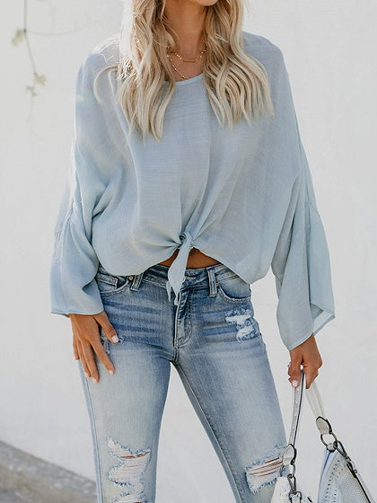 Light Blue Tie Front Flare Sleeve Chic Women Crop Blouse
