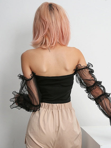 Black Off Shoulder Sheer Mesh Panel Long Sleeve Chic Women Crop Blouse