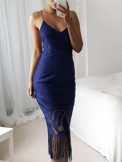 Blue V-neck Tassel Trim Chic Women Lace Bodycon Cami Midi Dress bcbcac039