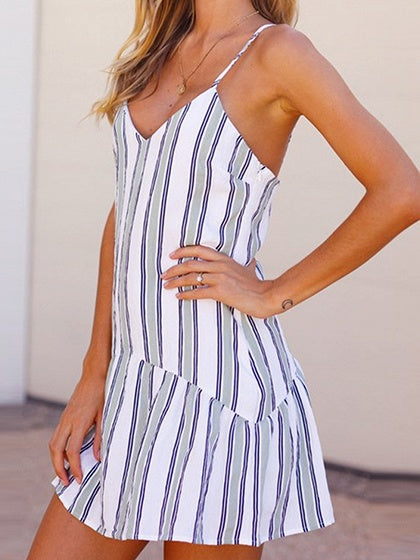 Blue Stripe V-neck Fishtail Hem Chic Women Cami Mini Dress
