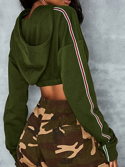 Green Cotton Stripe Panel Long Sleeve Chic Women Crop Hoodie