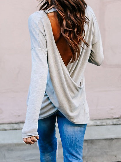 Gray Cotton Open Back Long Sleeve Chic Women T-shirt
