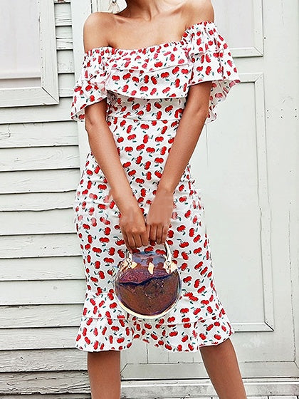 Red Cotton Off Shoulder Cherry Print Chic Women Bodycon Dress