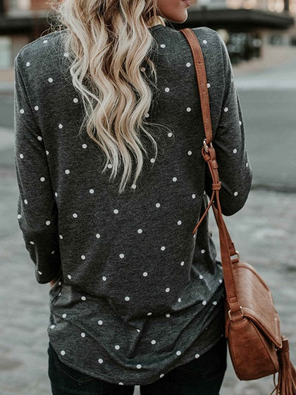 Gray Polka Dot Print Knot Front Long Sleeve Chic Women Blouse