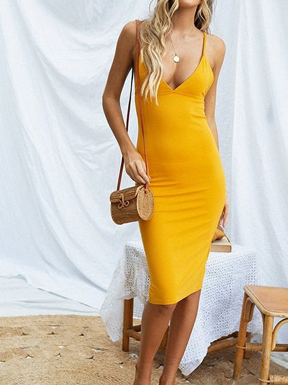 Yellow Cotton Plunge Open Back Chic Women Bodycon Cami Dress