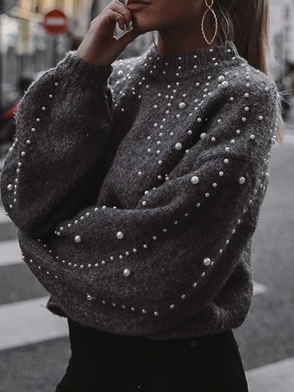 Gray Beaded Embellished Long Sleeve Chic Women Knit Sweater