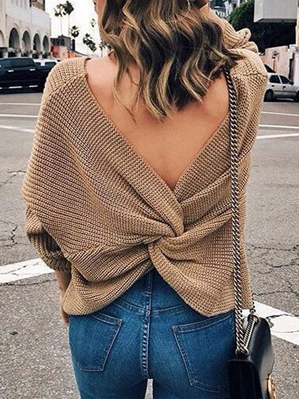 Khaki Knot Back Long Sleeve Chic Women Knit Sweater