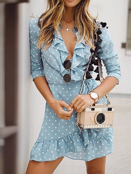 Light Blue V-neck Polka Dot Print Long Sleeve Chic Women Mini Dress