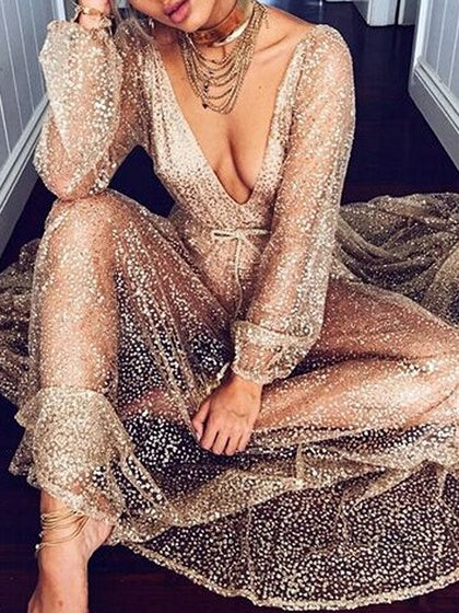 Golden Plunge Open Back Puff Sleeve Chic Women Maxi Dress