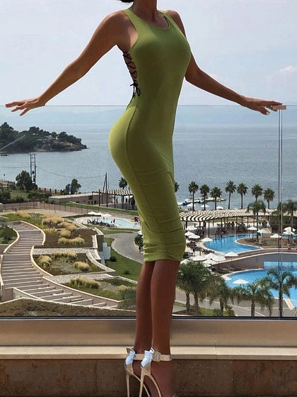 Green Cotton Lace Up Side Sleeveless Chic Women Bodycon Mini Dress