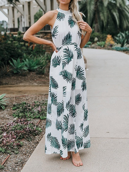 8f7594d9c19 White Halter Leaf Print Sleeveless Chic Women Maxi Dress – MYNYstyle