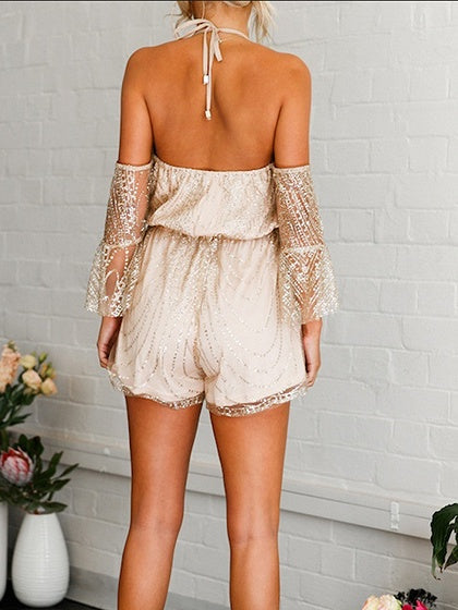 Golden Halter Plunge Open Back Flare Sleeve Chic Women Romper Playsuit
