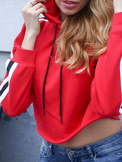 Red Cotton Stripe Panel Long Sleeve Chic Women Crop Hoodie