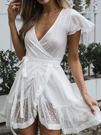 White Cotton V-neck Tie Waist Ruffle Trim Chic Women Mini Dress
