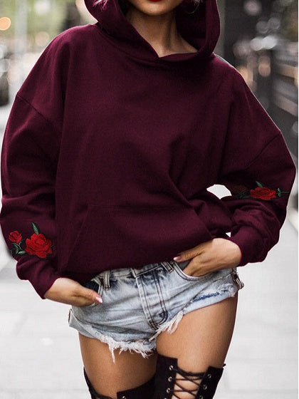 Burgundy Cotton Floral Embroidery Long Sleeve Chic Women Hoodie