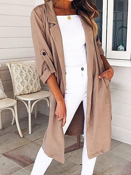Khaki Cotton Open Front Split Side Chic Women Longline Kimono