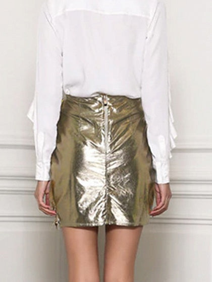 Golden Leather Look High Waist Leaf Embroidery Chic Women Mini Skirt