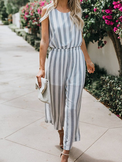 Light Blue Stripe Cotton Open Back Sleeveless Chic Women Jumpsuit